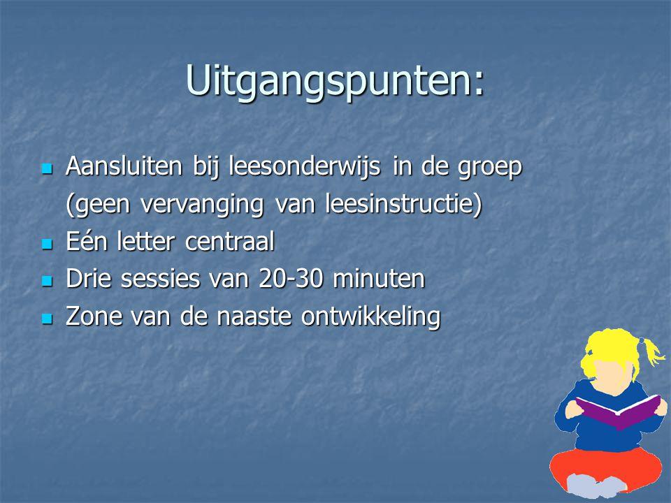 Uitgangspunten: Aansluiten bij leesonderwijs in de groep Aansluiten bij leesonderwijs in de groep (geen vervanging van leesinstructie) Eén letter cent