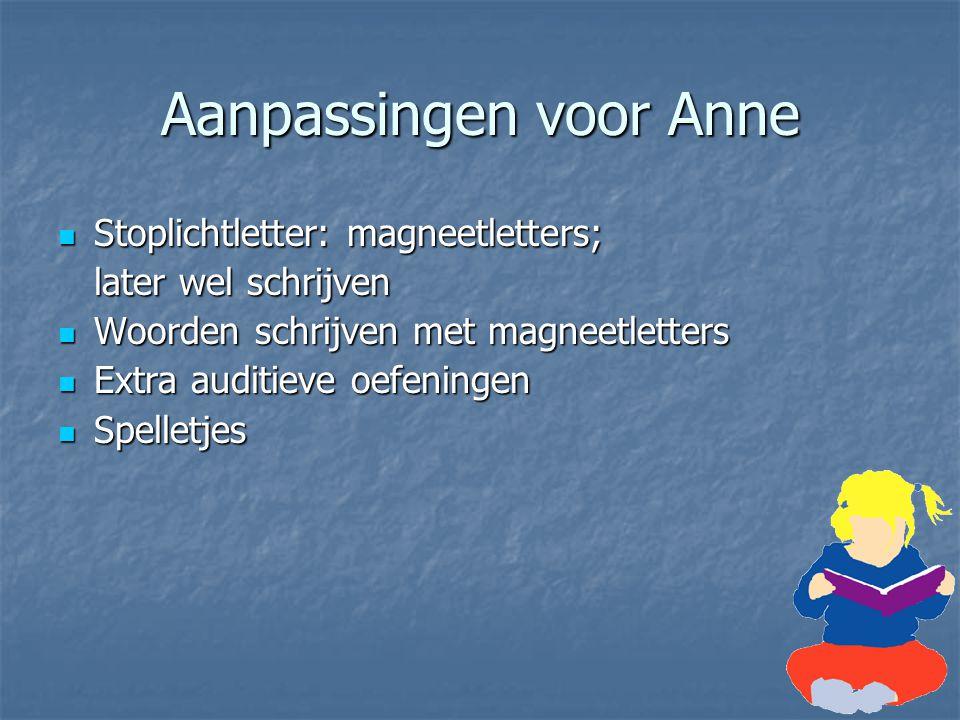 Aanpassingen voor Anne Stoplichtletter: magneetletters; Stoplichtletter: magneetletters; later wel schrijven Woorden schrijven met magneetletters Woor