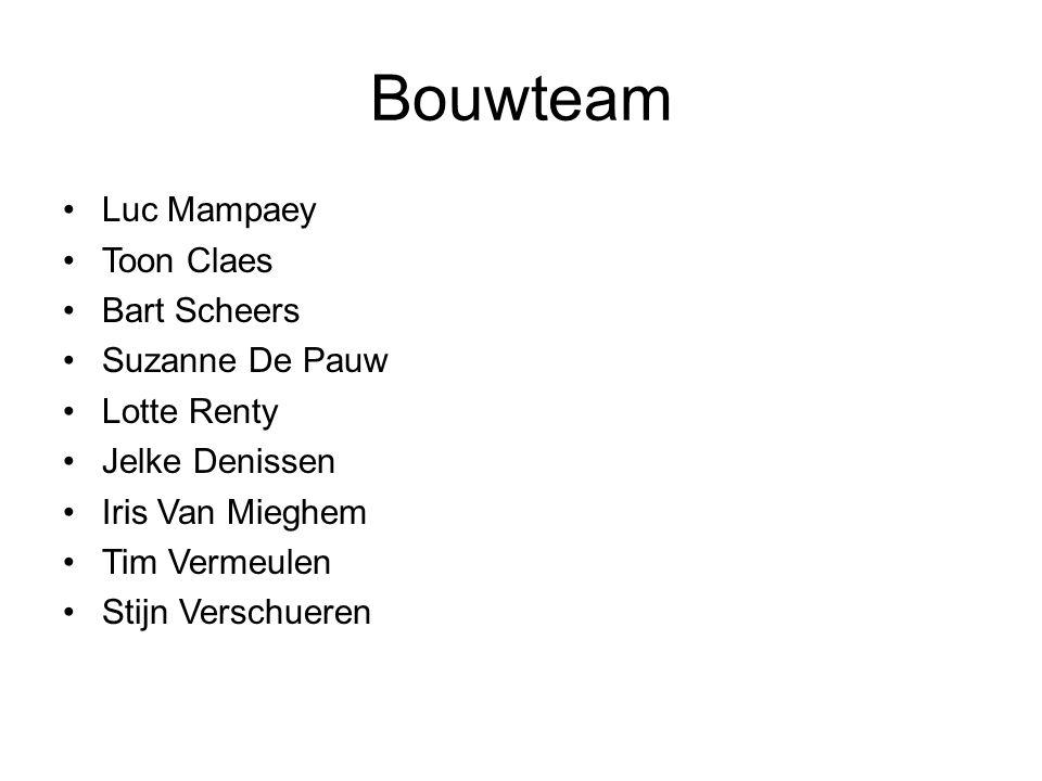 Bouwteam Luc Mampaey Toon Claes Bart Scheers Suzanne De Pauw Lotte Renty Jelke Denissen Iris Van Mieghem Tim Vermeulen Stijn Verschueren