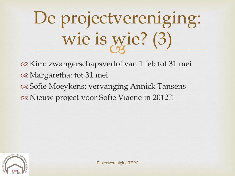   Kim: zwangerschapsverlof van 1 feb tot 31 mei  Margaretha: tot 31 mei  Sofie Moeykens: vervanging Annick Tansens  Nieuw project voor Sofie Viae