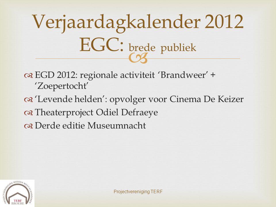   EGD 2012: regionale activiteit 'Brandweer' + 'Zoepertocht'  'Levende helden': opvolger voor Cinema De Keizer  Theaterproject Odiel Defraeye  De