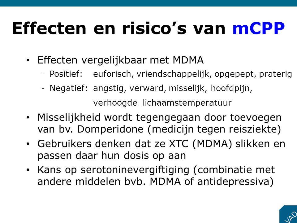 Effecten en risico's van mCPP Effecten vergelijkbaar met MDMA -Positief: euforisch, vriendschappelijk, opgepept, praterig -Negatief: angstig, verward,