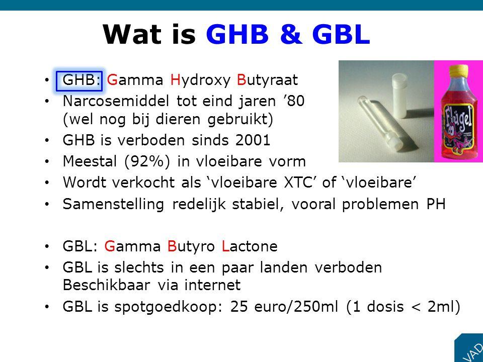 Wat is GHB & GBL GHB: Gamma Hydroxy Butyraat Narcosemiddel tot eind jaren '80 (wel nog bij dieren gebruikt) GHB is verboden sinds 2001 Meestal (92%) i