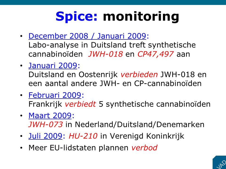 December 2008 / Januari 2009: Labo-analyse in Duitsland treft synthetische cannabinoïden JWH-018 en CP47,497 aan Januari 2009: Duitsland en Oostenrijk
