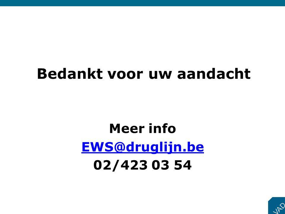 Bedankt voor uw aandacht Meer info EWS@druglijn.be 02/423 03 54