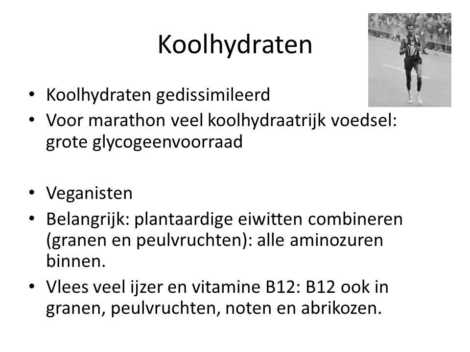 Koolhydraten Koolhydraten gedissimileerd Voor marathon veel koolhydraatrijk voedsel: grote glycogeenvoorraad Veganisten Belangrijk: plantaardige eiwit