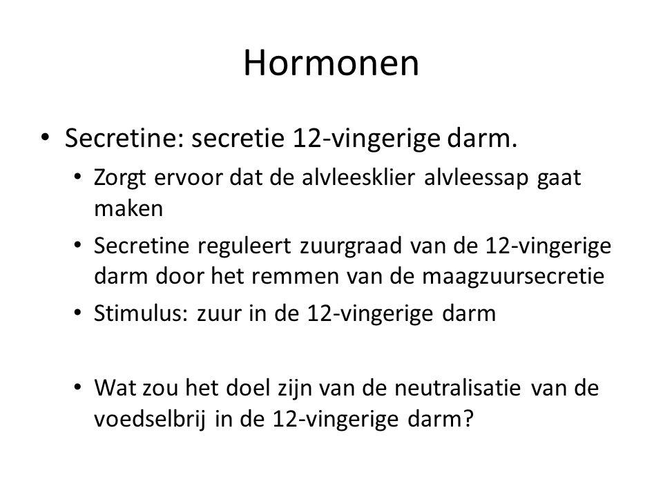 Hormonen Secretine: secretie 12-vingerige darm. Zorgt ervoor dat de alvleesklier alvleessap gaat maken Secretine reguleert zuurgraad van de 12-vingeri