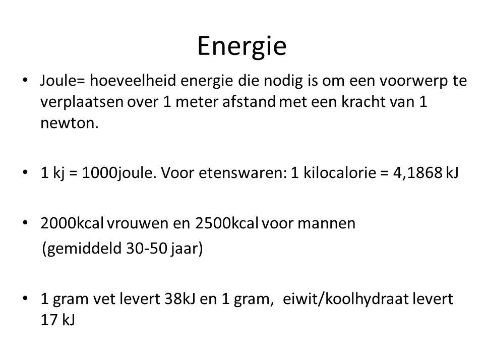Energie Joule= hoeveelheid energie die nodig is om een voorwerp te verplaatsen over 1 meter afstand met een kracht van 1 newton. 1 kj = 1000joule. Voo