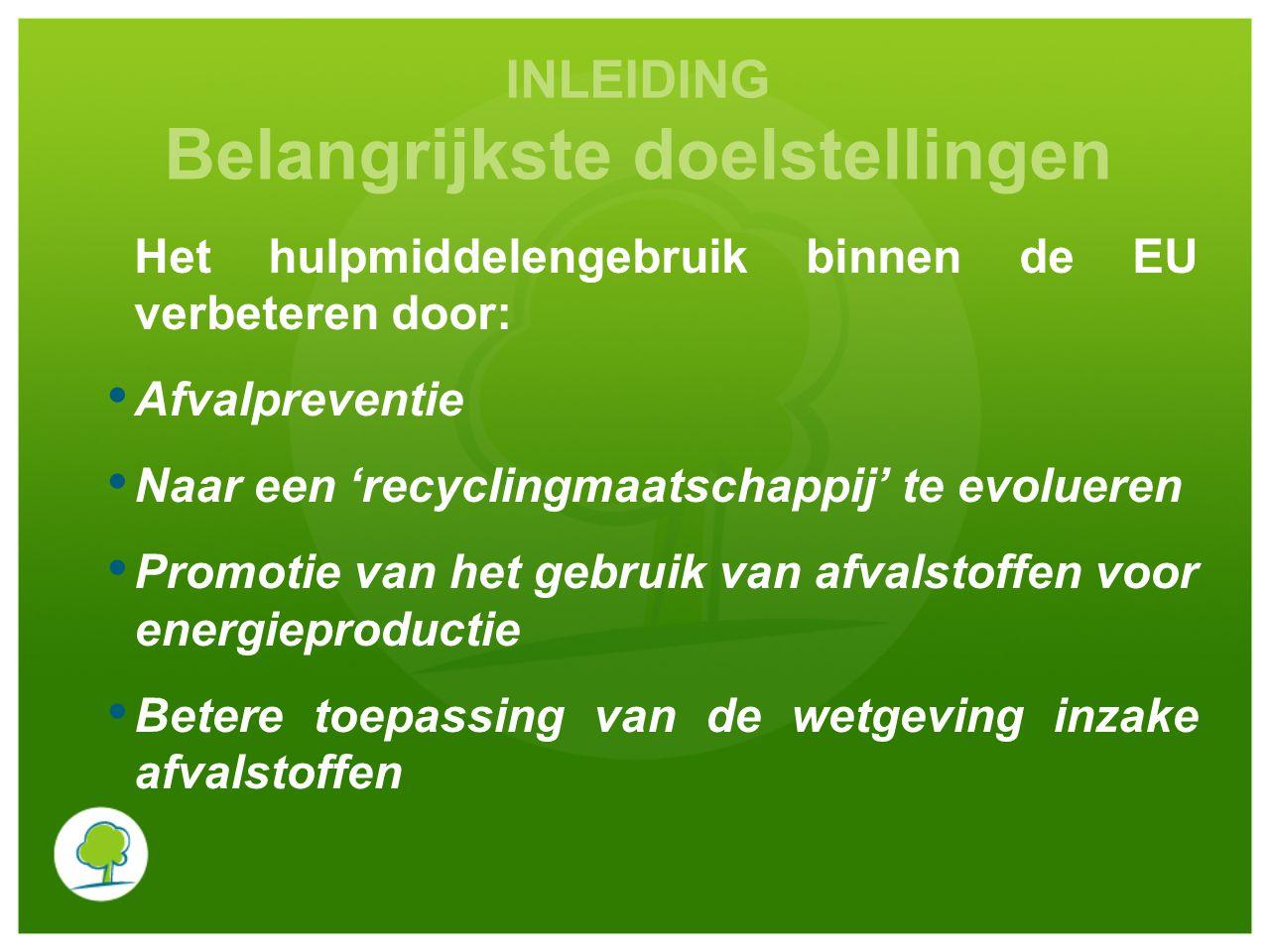 INLEIDING Belangrijkste doelstellingen Het hulpmiddelengebruik binnen de EU verbeteren door: Afvalpreventie Naar een 'recyclingmaatschappij' te evolueren Promotie van het gebruik van afvalstoffen voor energieproductie Betere toepassing van de wetgeving inzake afvalstoffen