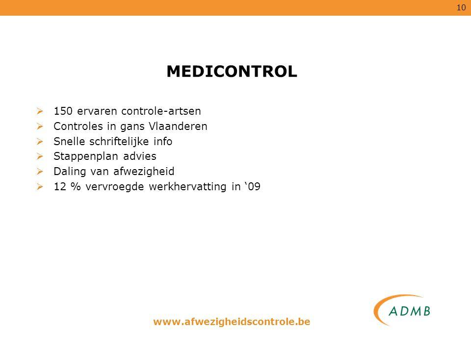 10 MEDICONTROL  150 ervaren controle-artsen  Controles in gans Vlaanderen  Snelle schriftelijke info  Stappenplan advies  Daling van afwezigheid