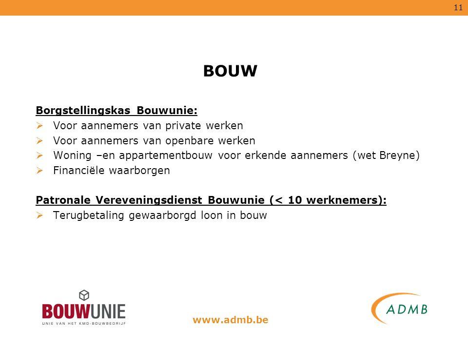 11 BOUW Borgstellingskas Bouwunie:  Voor aannemers van private werken  Voor aannemers van openbare werken  Woning –en appartementbouw voor erkende