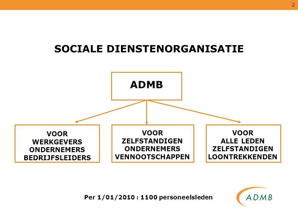 2 Per 1/01/2010 : 1100 personeelsleden SOCIALE DIENSTENORGANISATIE ADMB VOOR WERKGEVERS ONDERNEMERS BEDRIJFSLEIDERS VOOR ZELFSTANDIGEN ONDERNEMERS VEN