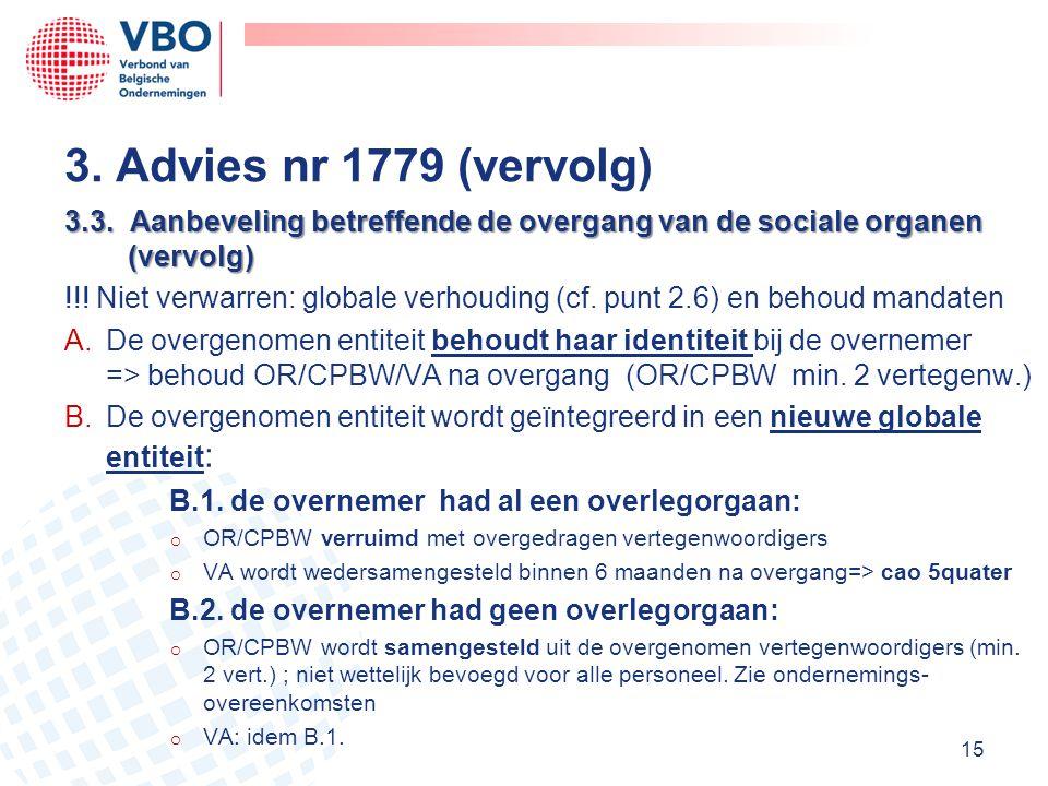 3.3. Aanbeveling betreffende de overgang van de sociale organen (vervolg) !!! Niet verwarren: globale verhouding (cf. punt 2.6) en behoud mandaten A.D