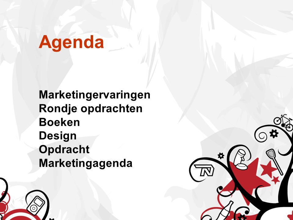 Agenda Marketingervaringen Rondje opdrachten Boeken Design Opdracht Marketingagenda