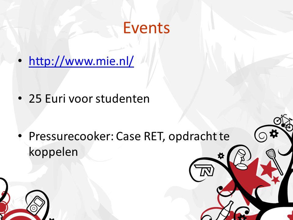 Events http://www.mie.nl/ 25 Euri voor studenten Pressurecooker: Case RET, opdracht te koppelen