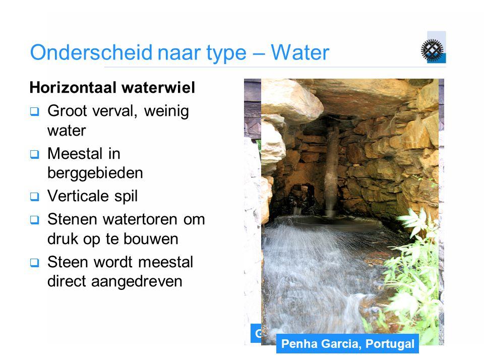Gifhorn Onderscheid naar type – Water Horizontaal waterwiel  Groot verval, weinig water  Meestal in berggebieden  Verticale spil  Stenen watertore