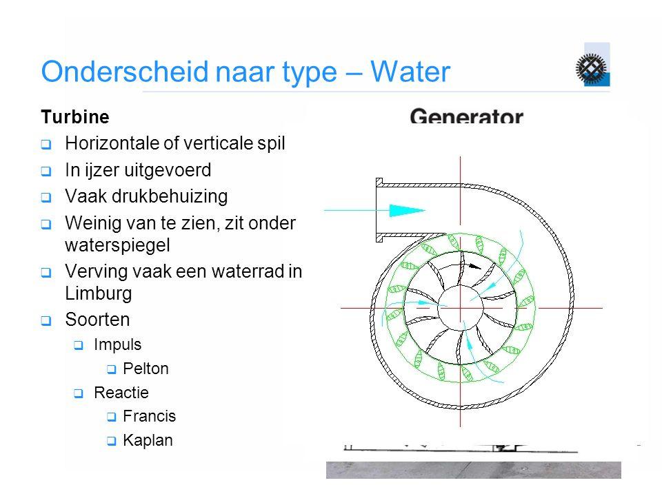 Onderscheid naar type – Water Turbine  Horizontale of verticale spil  In ijzer uitgevoerd  Vaak drukbehuizing  Weinig van te zien, zit onder water
