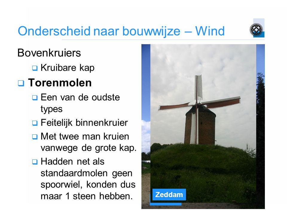 Gifhorn Zeddam Onderscheid naar bouwwijze – Wind Bovenkruiers  Kruibare kap  Torenmolen  Een van de oudste types  Feitelijk binnenkruier  Met twe