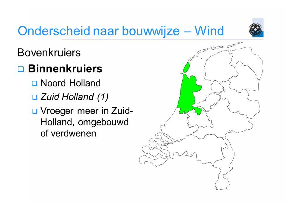 Onderscheid naar bouwwijze – Wind Bovenkruiers  Binnenkruiers  Noord Holland  Zuid Holland (1)  Vroeger meer in Zuid- Holland, omgebouwd of verdwe
