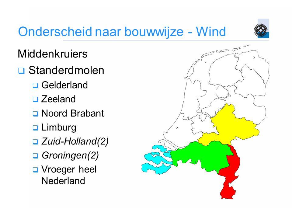 Onderscheid naar bouwwijze - Wind Middenkruiers  Standerdmolen  Gelderland  Zeeland  Noord Brabant  Limburg  Zuid-Holland(2)  Groningen(2)  Vr