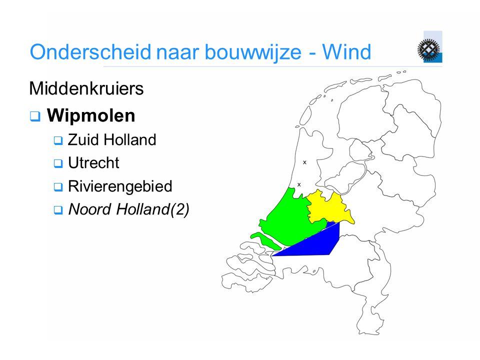 Onderscheid naar bouwwijze - Wind Middenkruiers  Wipmolen  Zuid Holland  Utrecht  Rivierengebied  Noord Holland(2)
