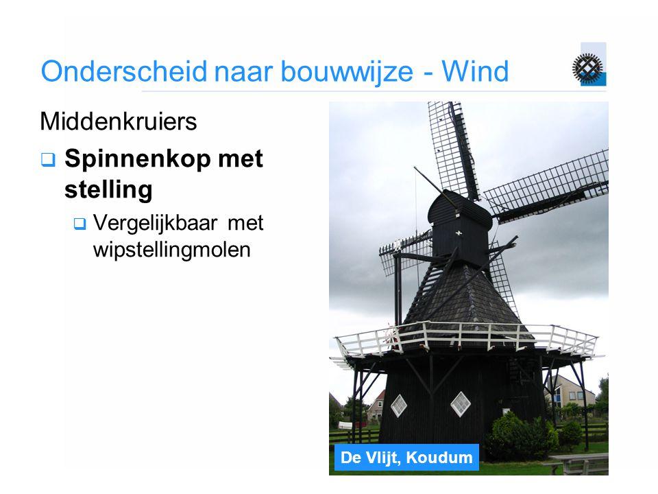 De Vlijt, Koudum Onderscheid naar bouwwijze - Wind Middenkruiers  Spinnenkop met stelling  Vergelijkbaar met wipstellingmolen