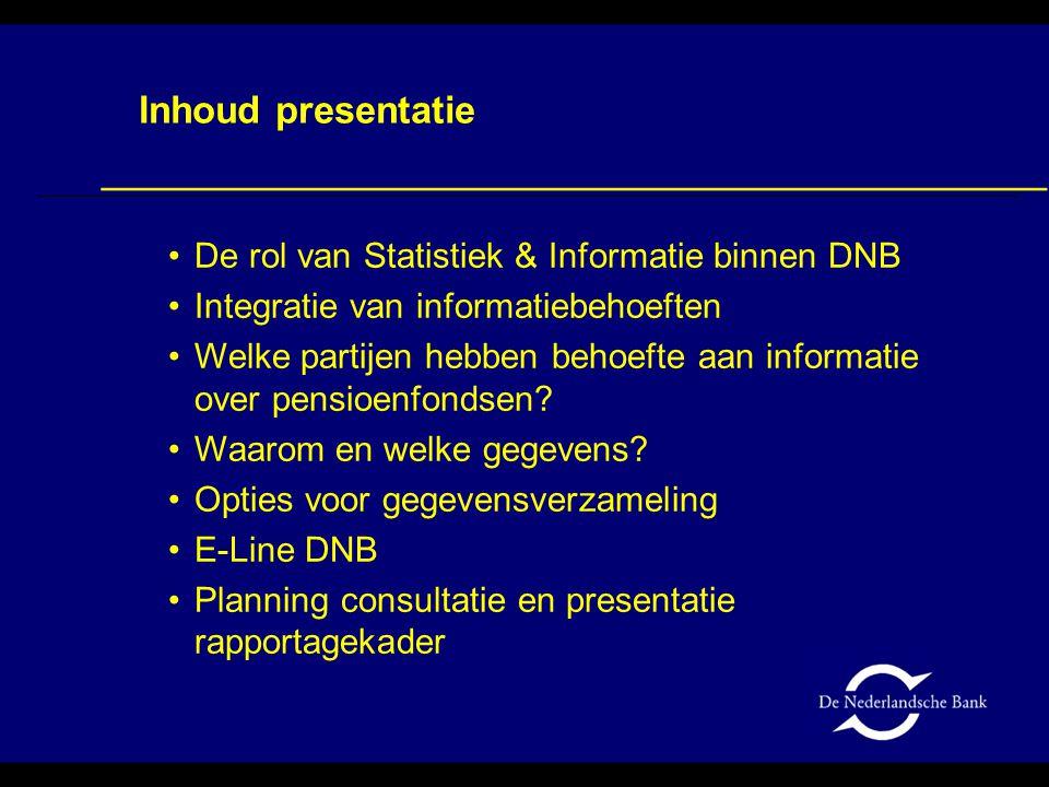De rol van Statistiek & Informatie binnen DNB Integratie van informatiebehoeften Welke partijen hebben behoefte aan informatie over pensioenfondsen? W