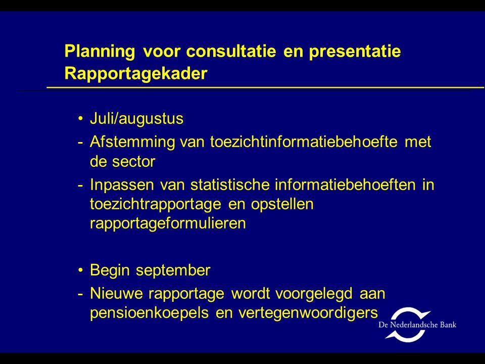 Juli/augustus -Afstemming van toezichtinformatiebehoefte met de sector -Inpassen van statistische informatiebehoeften in toezichtrapportage en opstell