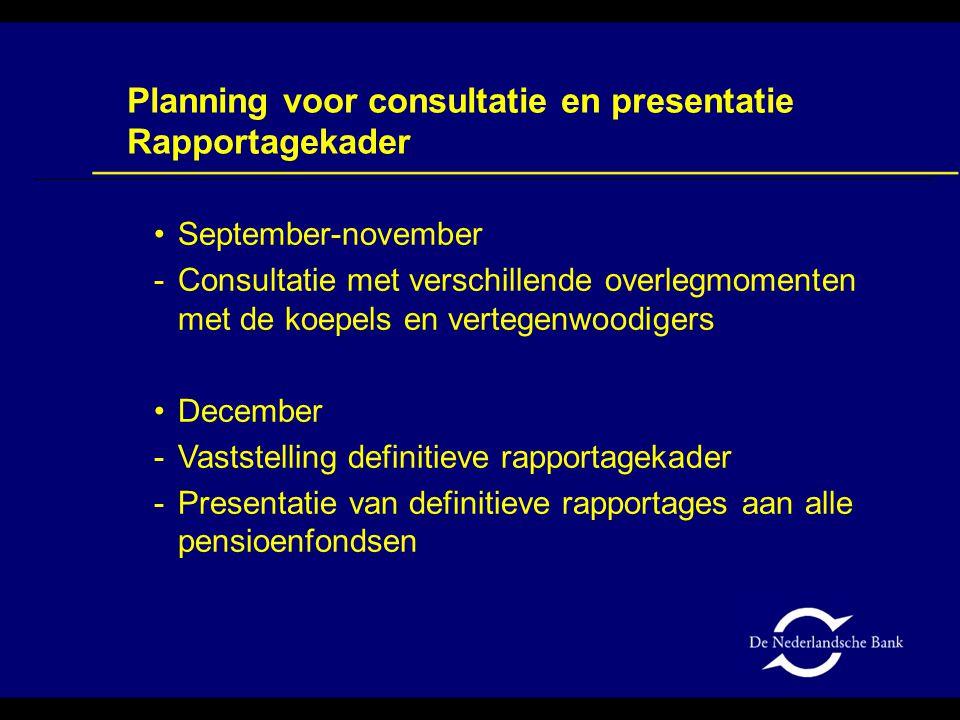 September-november -Consultatie met verschillende overlegmomenten met de koepels en vertegenwoodigers December -Vaststelling definitieve rapportagekad