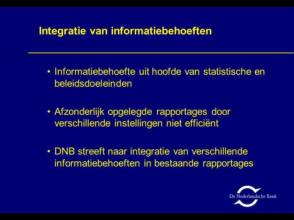Informatiebehoefte uit hoofde van statistische en beleidsdoeleinden Afzonderlijk opgelegde rapportages door verschillende instellingen niet efficiënt
