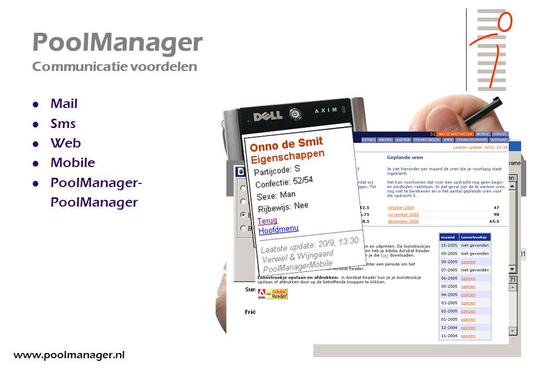 PoolManager Communicatie voordelen Mail Sms Web Mobile PoolManager- PoolManager www.poolmanager.nl