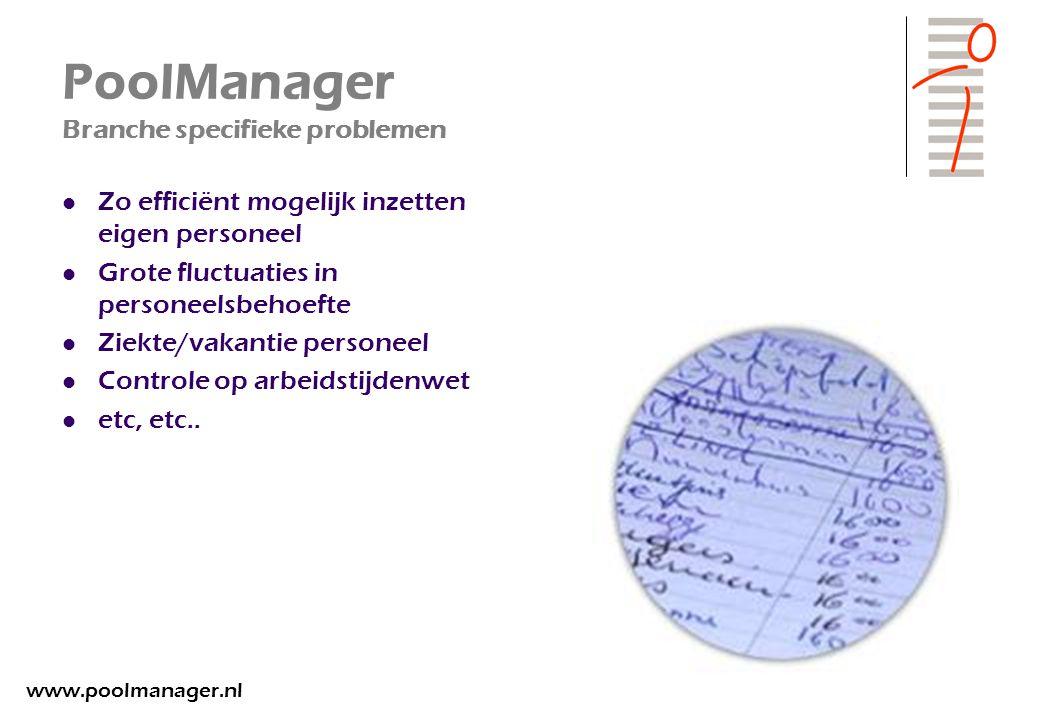 PoolManager Branche specifieke problemen Zo efficiënt mogelijk inzetten eigen personeel Grote fluctuaties in personeelsbehoefte Ziekte/vakantie person