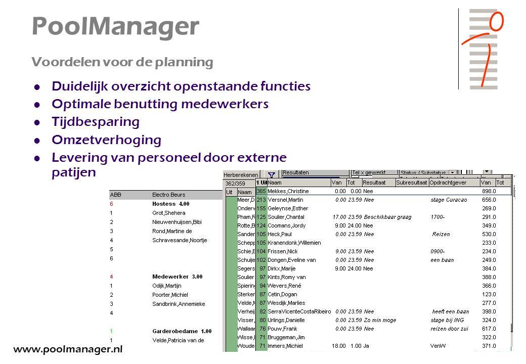 PoolManager Voordelen voor de planning Duidelijk overzicht openstaande functies Optimale benutting medewerkers Tijdbesparing Omzetverhoging Levering v