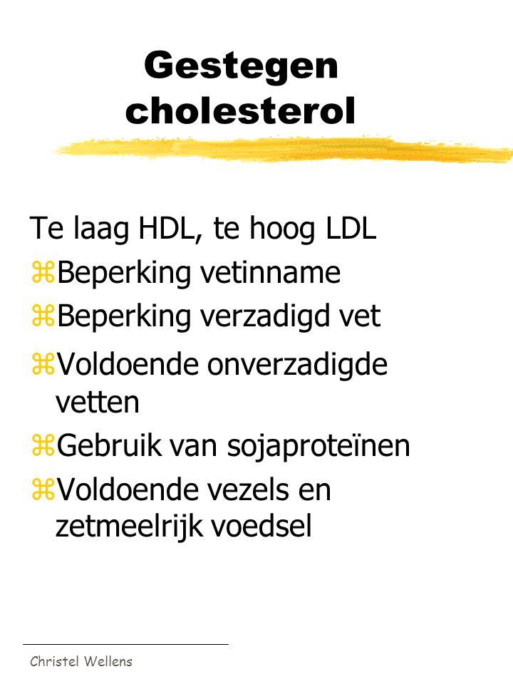 Christel Wellens Gestegen cholesterol Te laag HDL, te hoog LDL zBeperking vetinname zBeperking verzadigd vet zVoldoende onverzadigde vetten zGebruik v