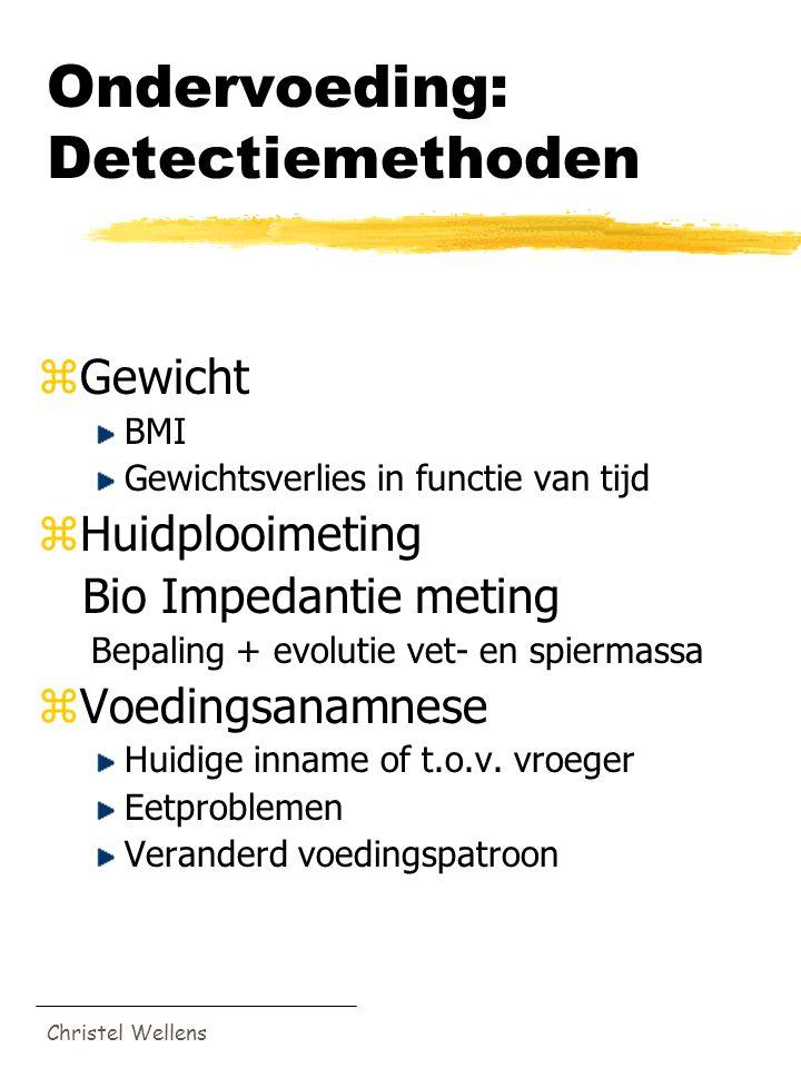 Christel Wellens Ondervoeding: Detectiemethoden zGewicht BMI Gewichtsverlies in functie van tijd zHuidplooimeting Bio Impedantie meting Bepaling + evo