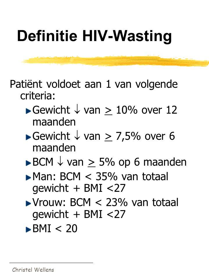 Christel Wellens Definitie HIV-Wasting Patiënt voldoet aan 1 van volgende criteria: Gewicht  van > 10% over 12 maanden Gewicht  van > 7,5% over 6 ma