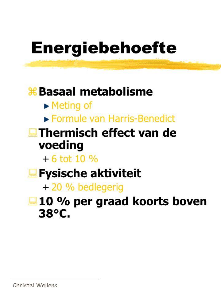 Christel Wellens Energiebehoefte zBasaal metabolisme Meting of Formule van Harris-Benedict :Thermisch effect van de voeding +6 tot 10 % :Fysische akti