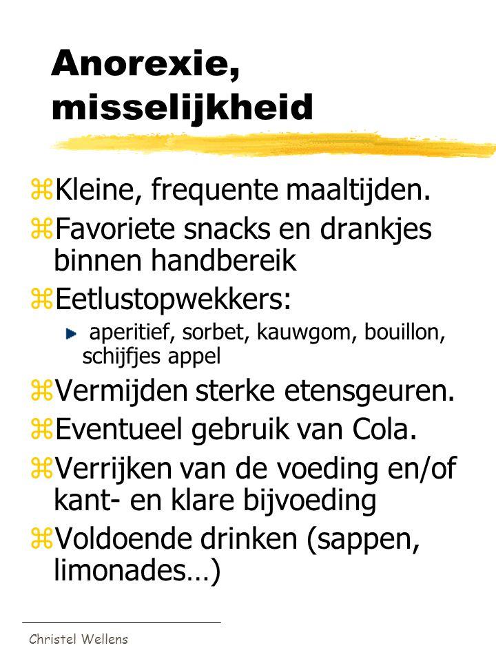 Christel Wellens Anorexie, misselijkheid zKleine, frequente maaltijden. zFavoriete snacks en drankjes binnen handbereik zEetlustopwekkers: aperitief,