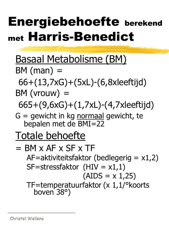 Christel Wellens Energiebehoefte berekend met Harris-Benedict Basaal Metabolisme (BM) BM (man) = 66+(13,7xG)+(5xL)-(6,8xleeftijd) BM (vrouw) = 665+(9,