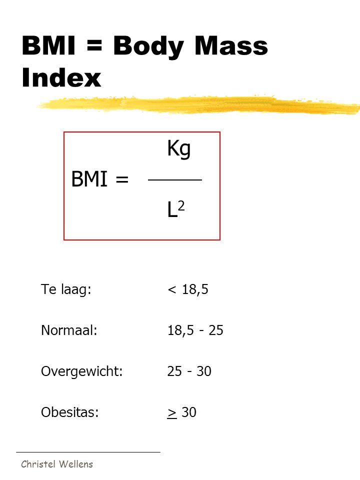 Christel Wellens BMI = Body Mass Index Kg BMI = L 2 Te laag:< 18,5 Normaal:18,5 - 25 Overgewicht:25 - 30 Obesitas:> 30