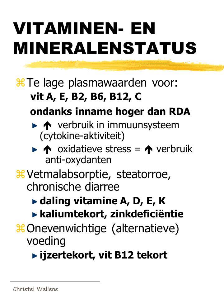Christel Wellens VITAMINEN- EN MINERALENSTATUS zTe lage plasmawaarden voor: vit A, E, B2, B6, B12, C ondanks inname hoger dan RDA  verbruik in immuun