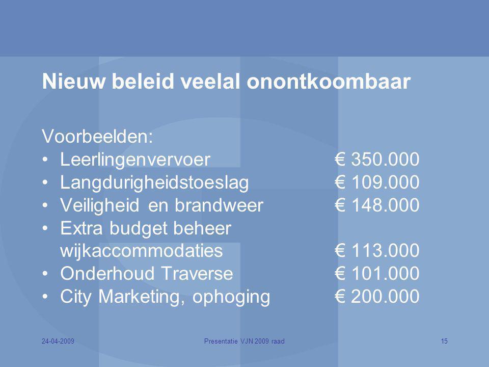 24-04-200915Presentatie VJN 2009 raad Nieuw beleid veelal onontkoombaar Voorbeelden: Leerlingenvervoer € 350.000 Langdurigheidstoeslag € 109.000 Veili