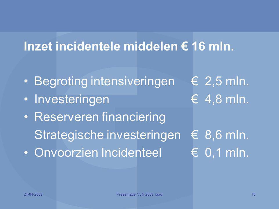 24-04-200918Presentatie VJN 2009 raad Inzet incidentele middelen € 16 mln. Begroting intensiveringen € 2,5 mln. Investeringen € 4,8 mln. Reserveren fi