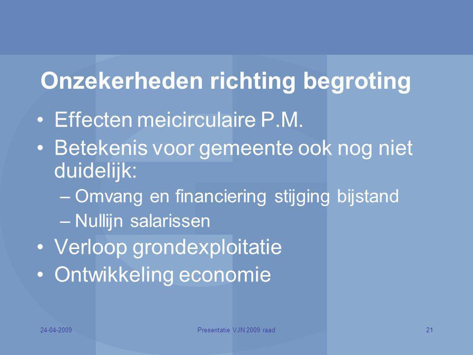 24-04-200921Presentatie VJN 2009 raad Onzekerheden richting begroting Effecten meicirculaire P.M. Betekenis voor gemeente ook nog niet duidelijk: –Omv