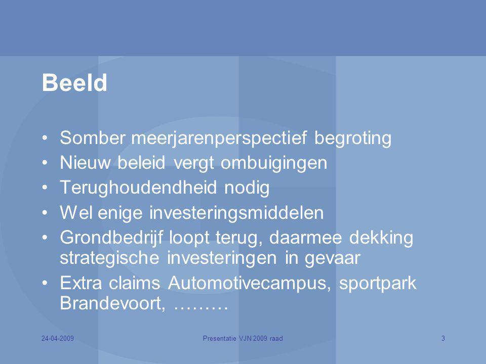 24-04-20093Presentatie VJN 2009 raad Beeld Somber meerjarenperspectief begroting Nieuw beleid vergt ombuigingen Terughoudendheid nodig Wel enige inves