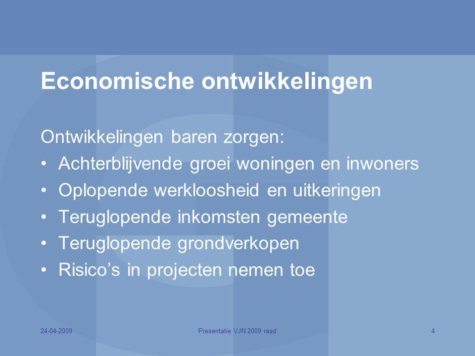 24-04-20094Presentatie VJN 2009 raad Economische ontwikkelingen Ontwikkelingen baren zorgen: Achterblijvende groei woningen en inwoners Oplopende werk
