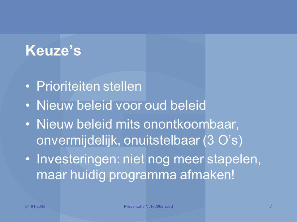 24-04-20097Presentatie VJN 2009 raad Keuze's Prioriteiten stellen Nieuw beleid voor oud beleid Nieuw beleid mits onontkoombaar, onvermijdelijk, onuits