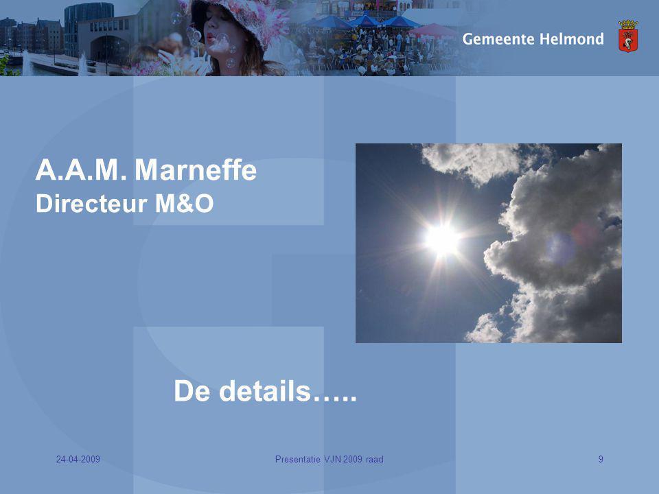 24-04-20099Presentatie VJN 2009 raad A.A.M. Marneffe Directeur M&O De details…..