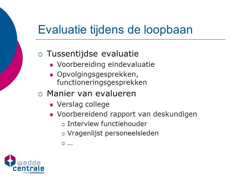 Evaluatie tijdens de loopbaan  Tussentijdse evaluatie Voorbereiding eindevaluatie Opvolgingsgesprekken, functioneringsgesprekken  Manier van evaluer