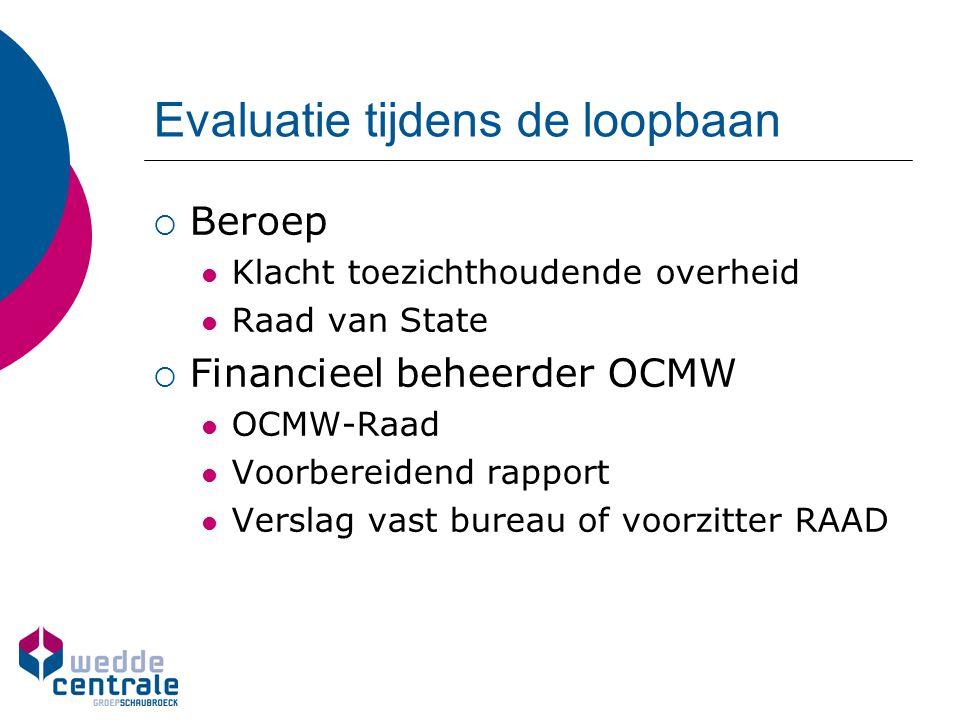 Evaluatie tijdens de loopbaan  Beroep Klacht toezichthoudende overheid Raad van State  Financieel beheerder OCMW OCMW-Raad Voorbereidend rapport Ver